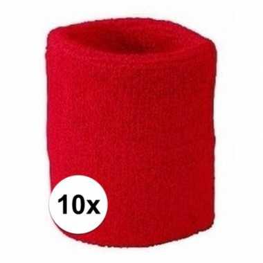 Rode polsbandjes 10 stuks