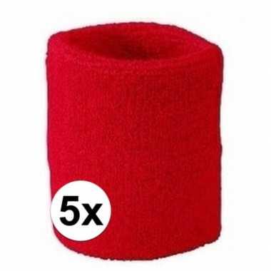 Rode polsbandjes 5 stuks