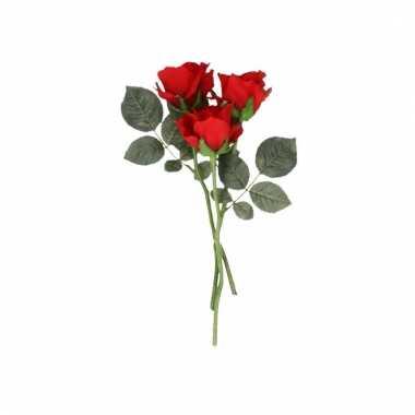 Rode roosjes kunst tak 30 cm 3 stuks