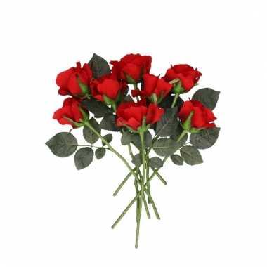 Rode roosjes kunst tak 30 cm 8 stuks