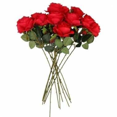 Rode roosjes kunst tak 45 cm 10 stuks
