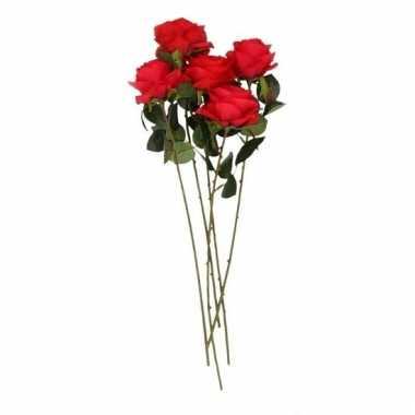 Rode roosjes kunst tak 45 cm 5 stuks