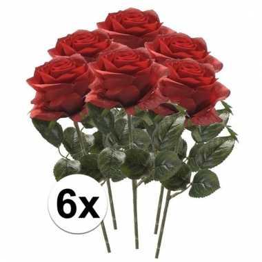 Rode roosjes kunst tak 45 cm 6 stuks