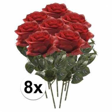 Rode roosjes kunst tak 45 cm 8 stuks