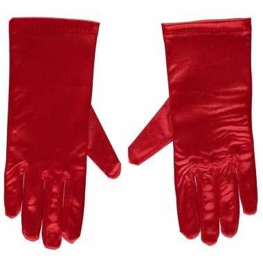 Rode satijnen verkleed handschoenen 20 cm