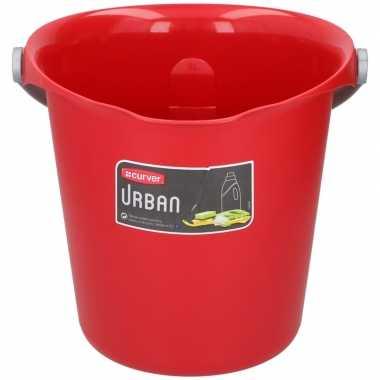 Rode schoonmaakemmer/huishoudemmer 9 liter