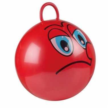 Rode skippybal met grappig gezicht 45cm