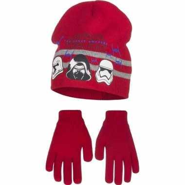 Rode star wars muts en handschoenen