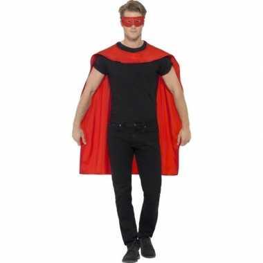 Rode superhelden cape met masker