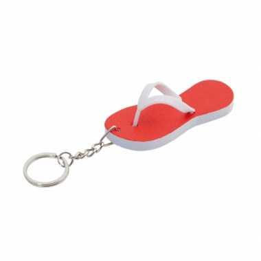 Rode teenslipper sleutelhanger 8 cm