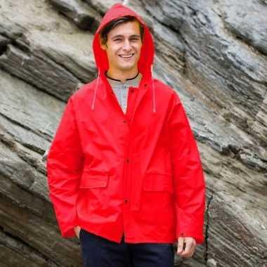 Rode unisex regenjas met drukknoopsluiting voor volwassenen