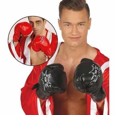 Rode verkleed bokser handschoenen voor volwassnen