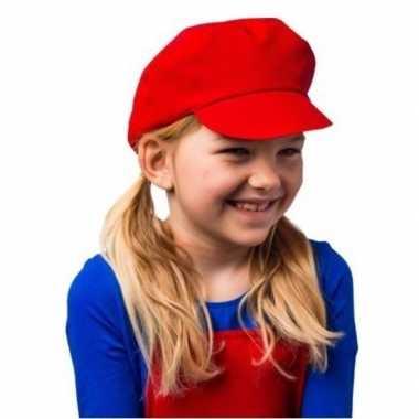 Rode verkleed cap/pet mario voor kinderen