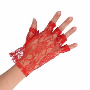 Rode verkleed handschoenen kant voor dames