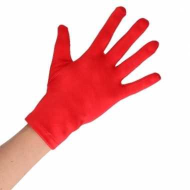 Rode verkleed handschoenen kort voor volwassenen