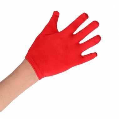 Rode verkleed handschoenen satijn voor jongens/meisjes