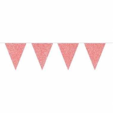 Rode vlaggenlijn met glitters 10 meter