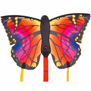 Rode vlinder speel vlieger 52 x 34 cm en 2 staarten