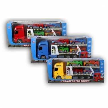 Rode vrachtwagen 44 cm met vier autos