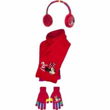 Rode winterset voor meisjes van minnie mouse 3 delig