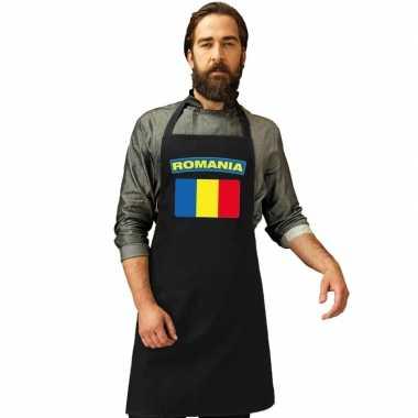 Roemeense vlag keukenschort/ barbecueschort zwart heren en dames