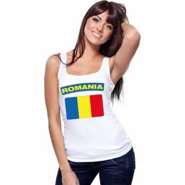 Roemenie vlag mouwloos shirt wit dames