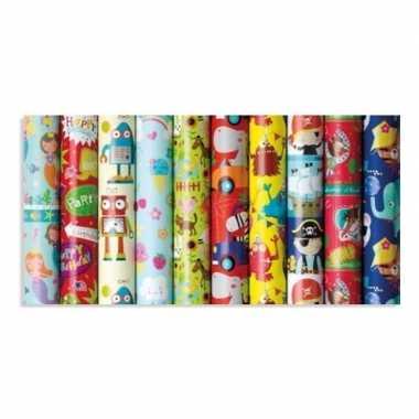 Rol kinderverjaardag inpakpapier met olifanten print 200 x 70 cm
