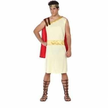 Romeins/grieks wit/rode toga/gewaad agis verkleedset voor heren