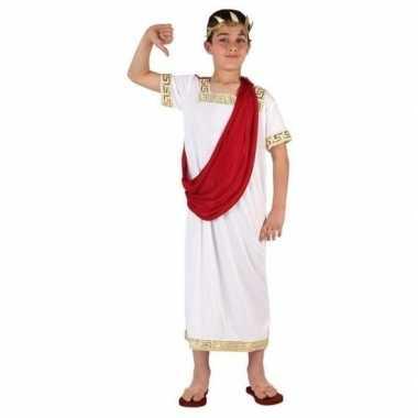 Romeinse julius ceasar verkleedset wit/rood voor jongens