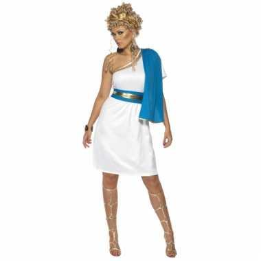 Romeinse jurk blauw met wit