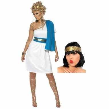 Romeinse jurk met accessoires voor dames maat s