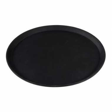 Rond dienblad zwart kunststof 40,5 cm