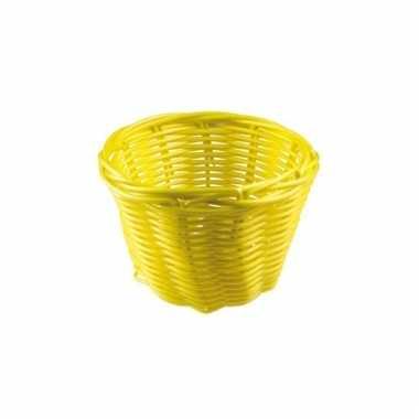Rond rieten bloempotje geel 14 cm