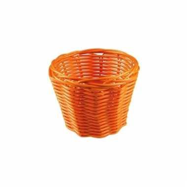 Rond rieten bloempotje oranje 14 cm