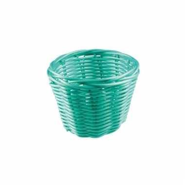 Rond rieten bloempotje turquoise 14 cm