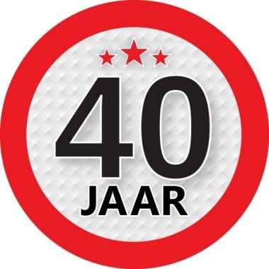 Ronde 40 jaar sticker van 9 cm