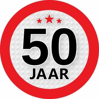 Ronde 50 jaar sticker van 9 cm