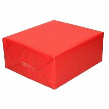Rood cadeaupapier met gouden lijnen 70 x 200 cm