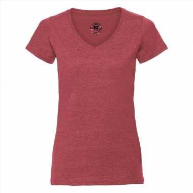 Rood dames t-shirts met v-hals