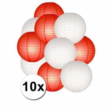 Rood en wit lampionnen pakket 10x