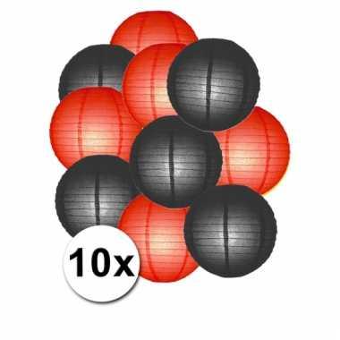 Rood en zwart lampionnen pakket 10x