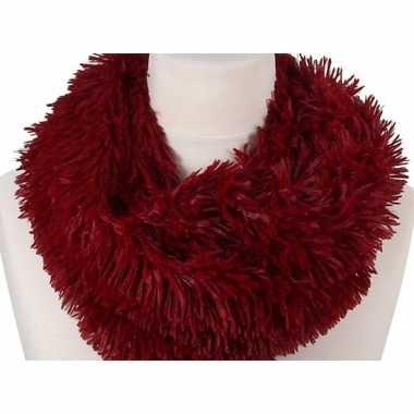 Rood fleece ronde col sjaal 80 cm voor volwassenen