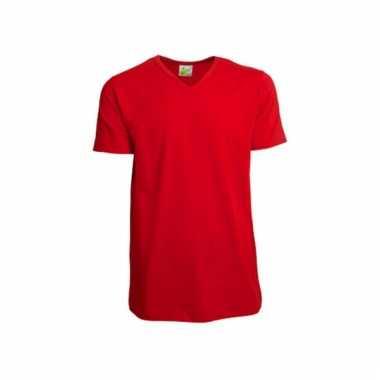 Rood gekleurd v-hals shirt voor heren