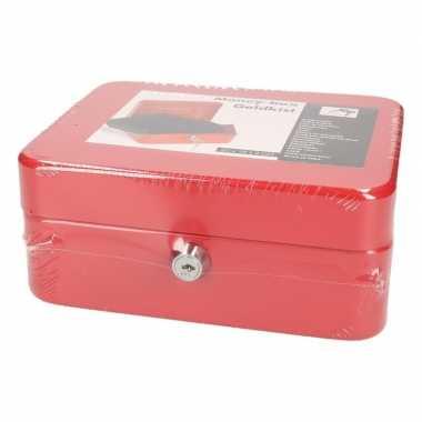 Rood geld kistje 20 x 16 cm