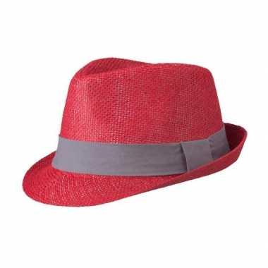 Rood gevlochten hoedje met donkergrijs band