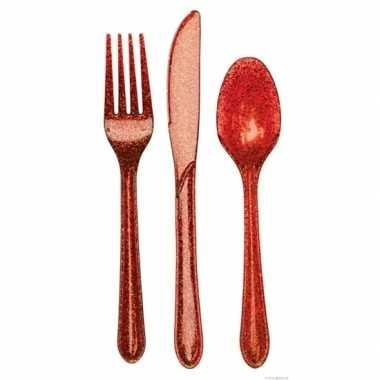 Rood glitter bestek 24-delig