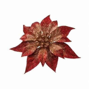 Rood/gouden decoratie kerstster glitters op clip 18 cm