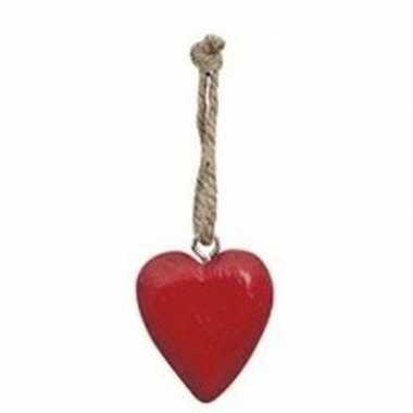 Rood hartje aan hanger 5 cm