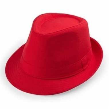 Rood hoedje trilby model voor volwassenen
