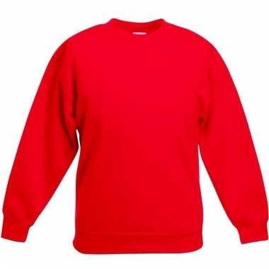 Rood katoenen sweater zonder capuchon voor jongens